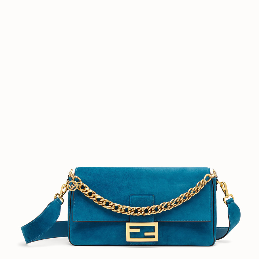 FENDI BAGUETTE LARGE - Light blue suede bag - view 1 detail