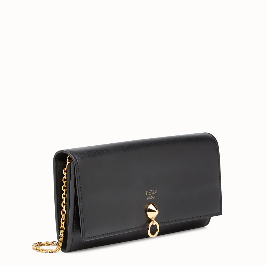 38519bfb21e Wallet in black leather - CONTINENTAL WITH CHAIN | Fendi