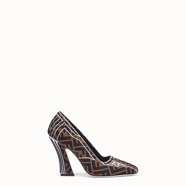 FENDI PUMPS - Pumps in brown fabric - view 1 small thumbnail