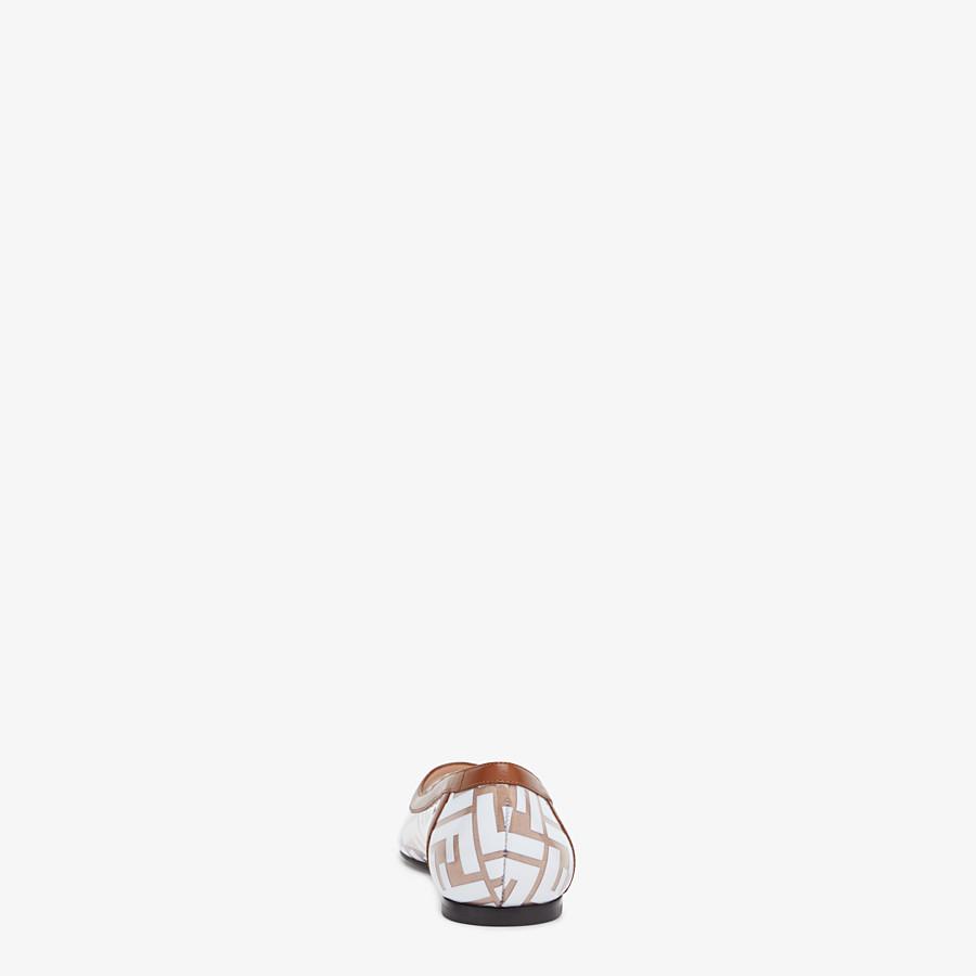 FENDI BALLERINES - Chaussures plates en PU et cuir blanc - view 3 detail