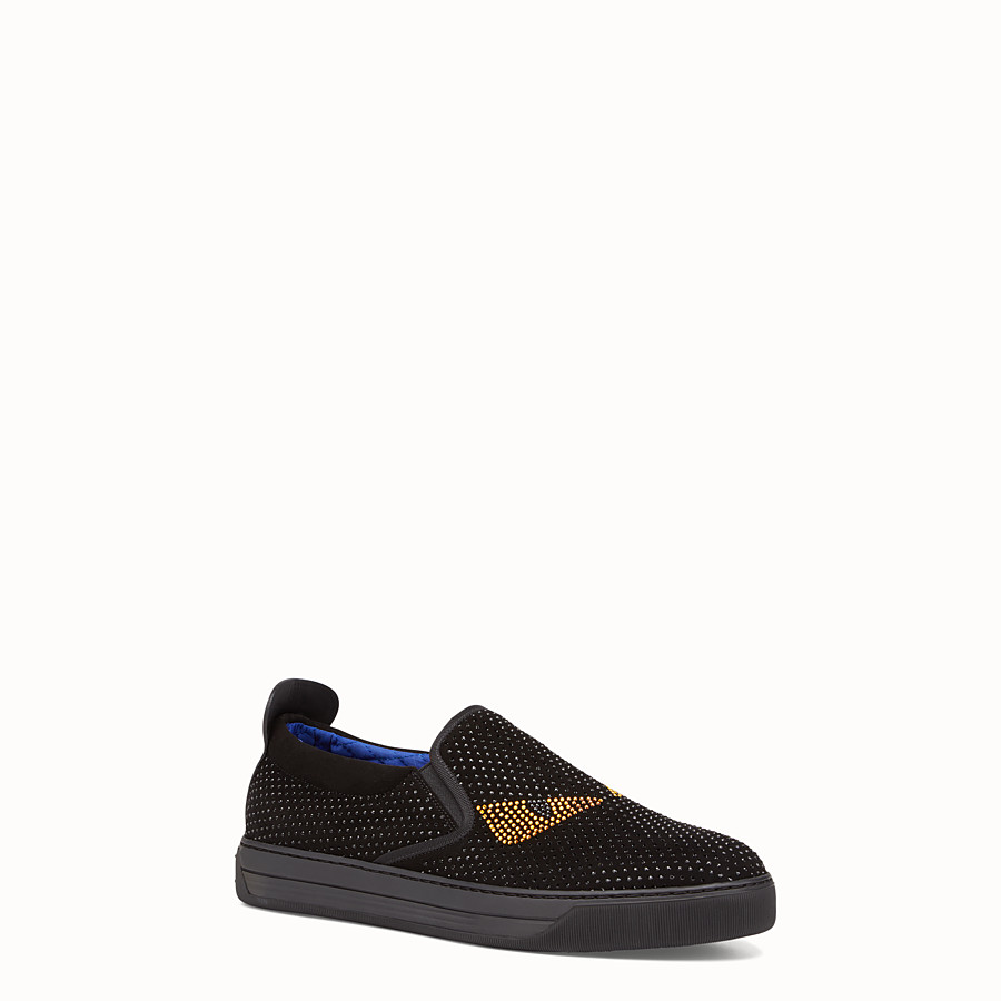 FENDI SNEAKER - Black suede slip-ons with inserts - view 2 detail