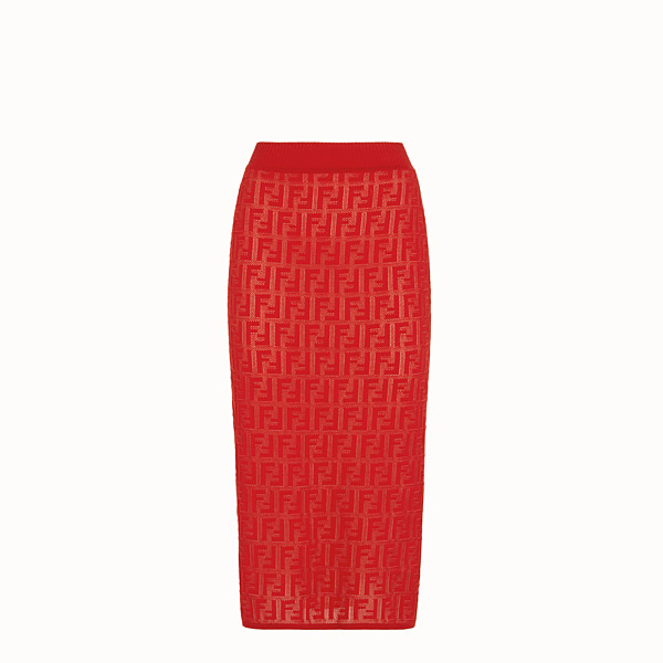 FENDI SKIRT - Red cotton skirt - view 1 small thumbnail