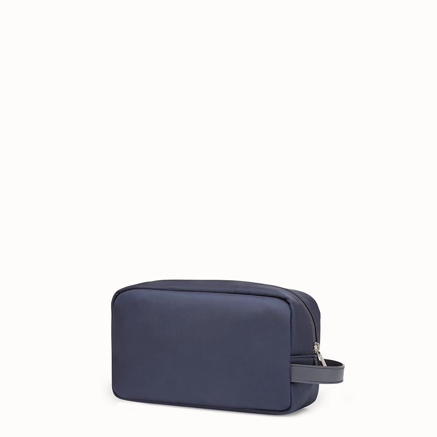 FENDI TOILETRY CASE - Blue nylon and leather case - view 2 detail