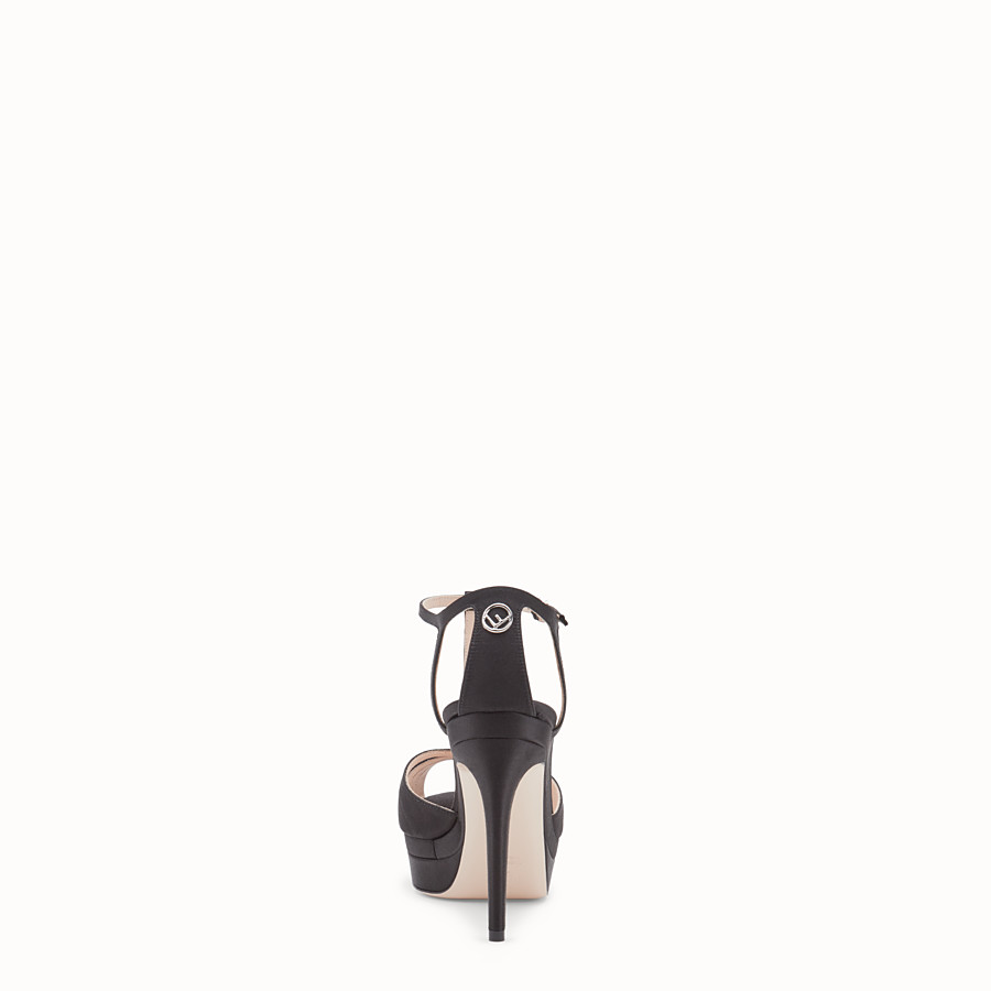 FENDI SANDALS - Black satin high sandals - view 3 detail