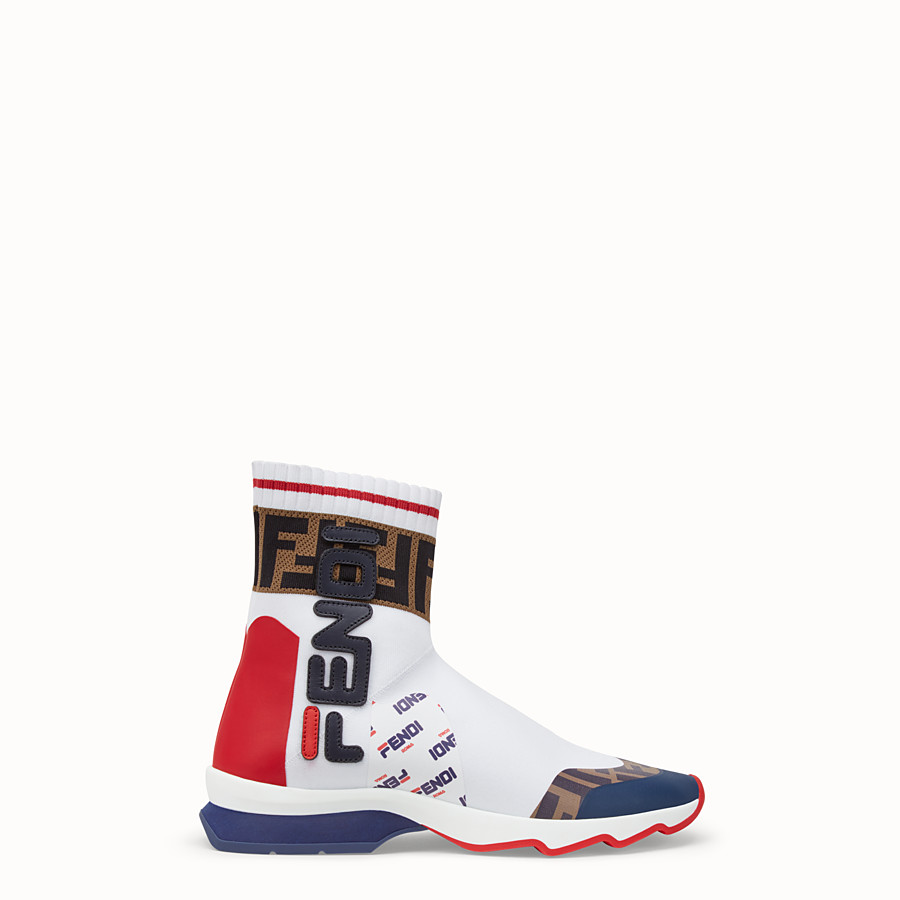 FENDI SNEAKERS - Multicolour fabric sneaker boots - view 1 detail