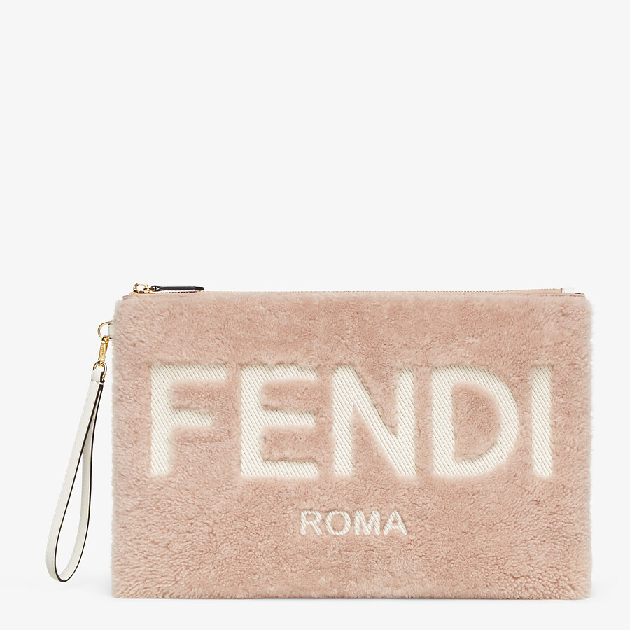 FENDI FLAT POUCH LARGE - Pink sheepskin pouch - view 1 detail