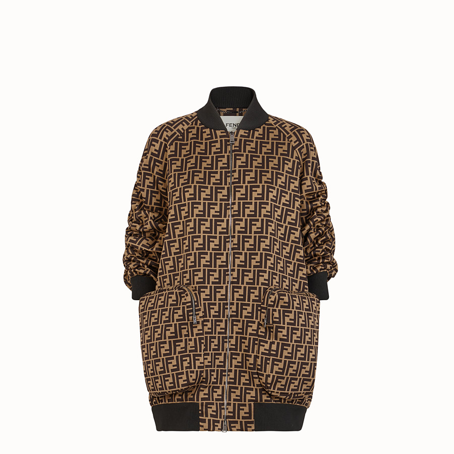 FENDI BOMBER - Brown cotton jersey bomber - view 1 detail