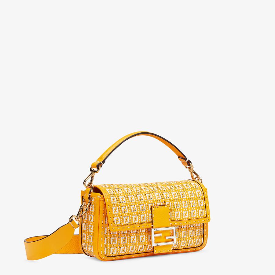 FENDI BAGUETTE - Tasche aus geflochtenem Leder in Orange und Weiß - view 2 detail