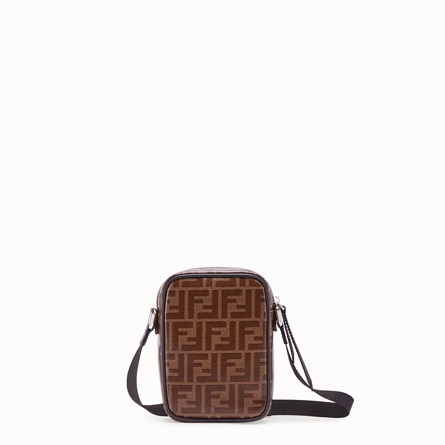 FENDI SMALL MESSENGER - Brown fabric cross-body - view 3 detail