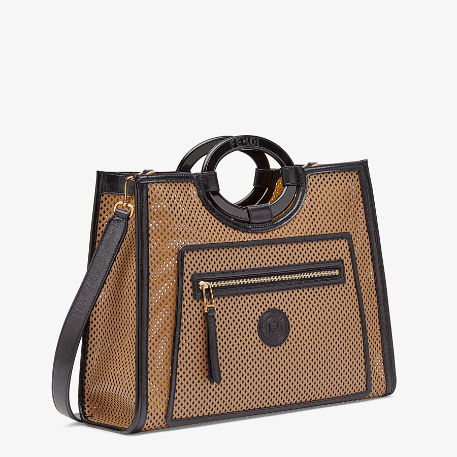 FENDI RUNAWAY SHOPPER - Beige leather shopper bag - view 3 detail