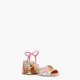 FENDI SLINGBACKS - Multicolor cotton sandals - view 2 thumbnail
