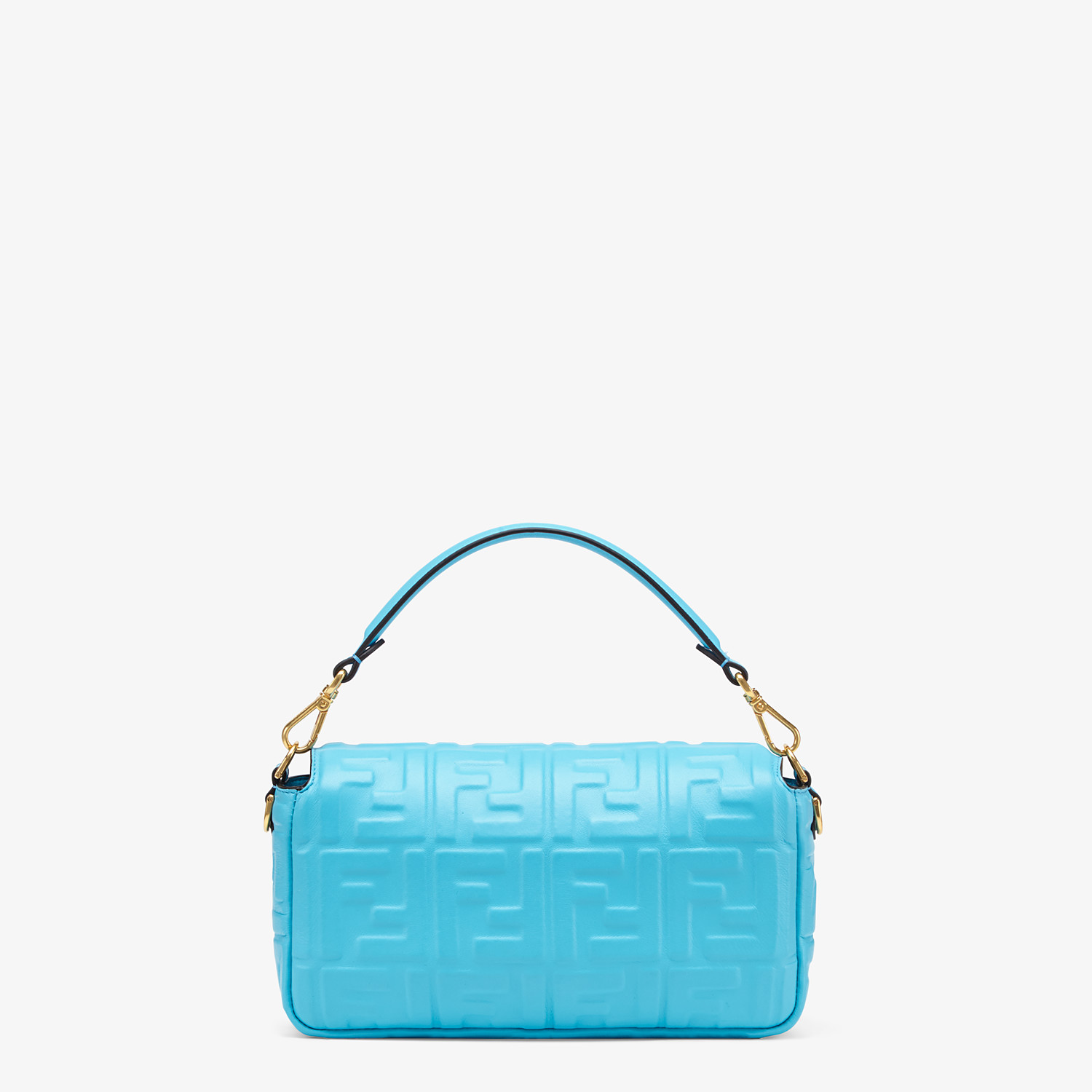 FENDI BAGUETTE - Light blue FF Signature nappa leather bag - view 4 detail