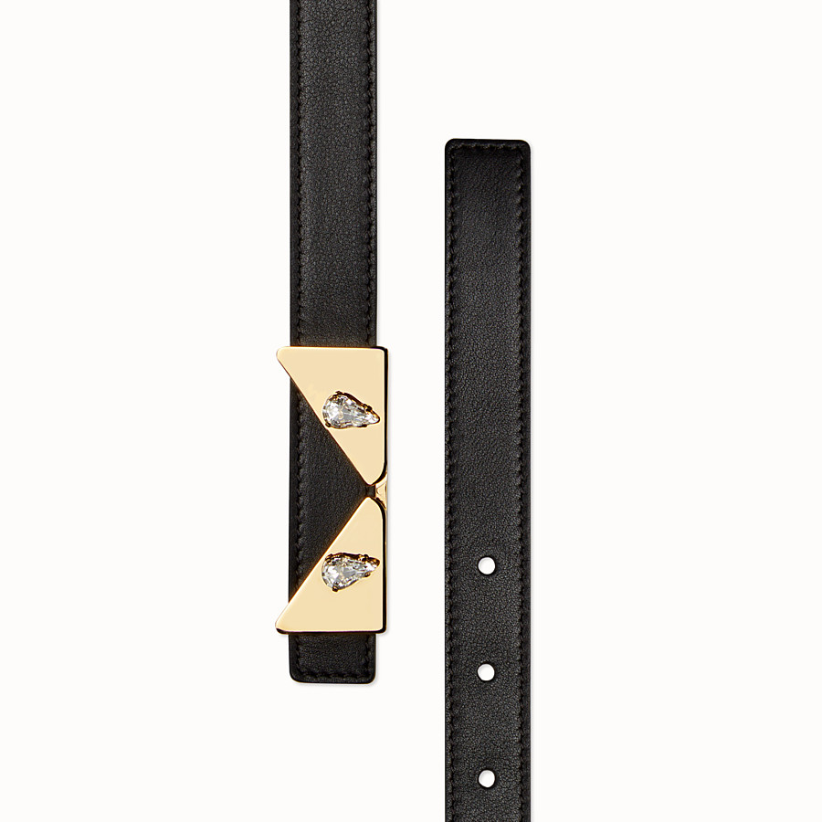 FENDI CRYSTAL WONDERS BELT - Black leather belt - view 2 detail
