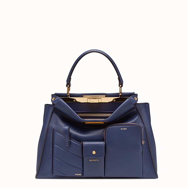 FENDI PEEKABOO REGULAR POCKET - Blue leather bag - view 1 small thumbnail