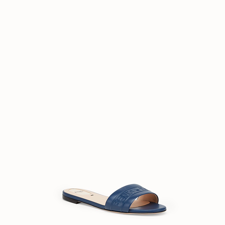 FENDI SLIDES - Blue leather slides - view 2 detail