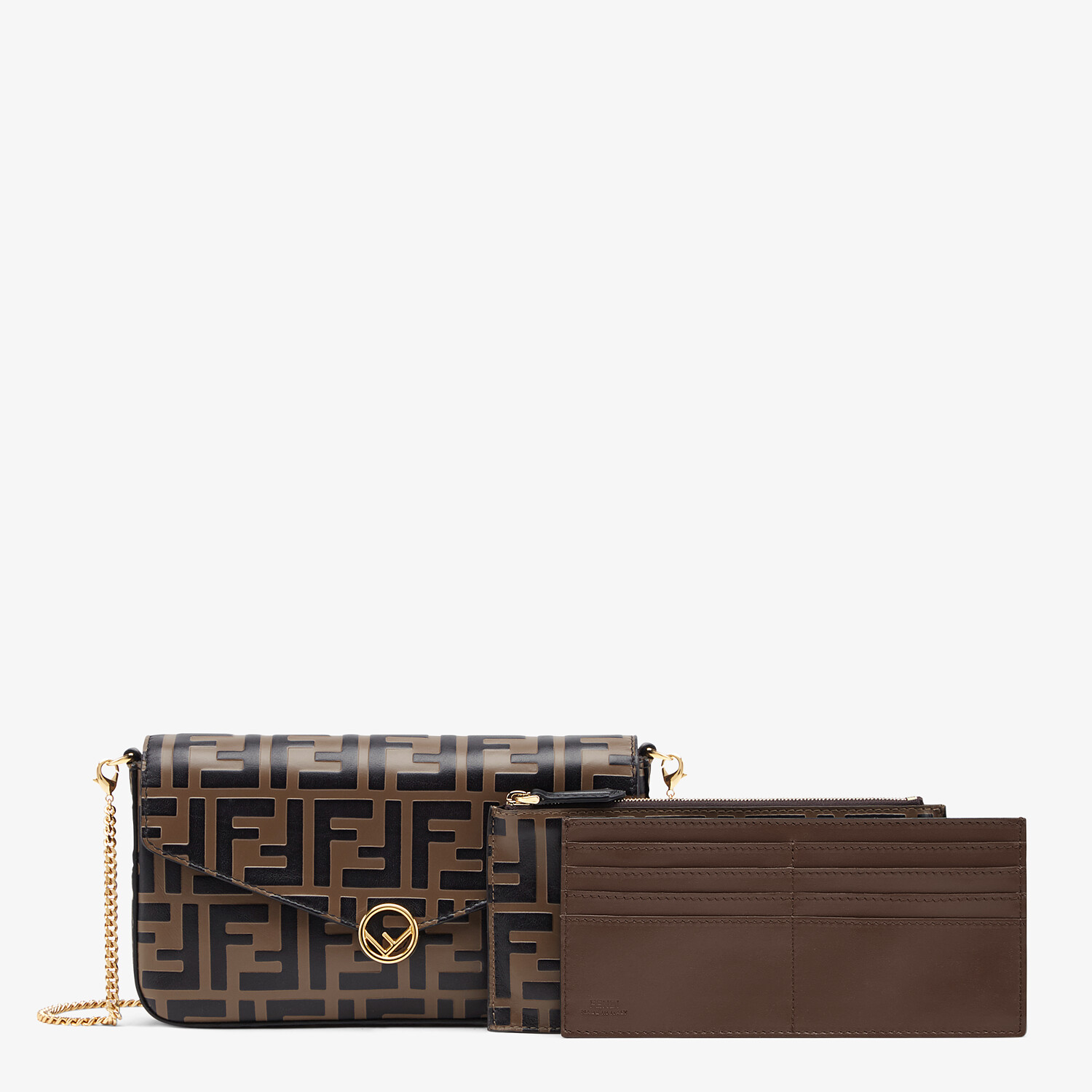 FENDI WALLET ON CHAIN WITH POUCHES - Brown leather mini-bag - view 2 detail