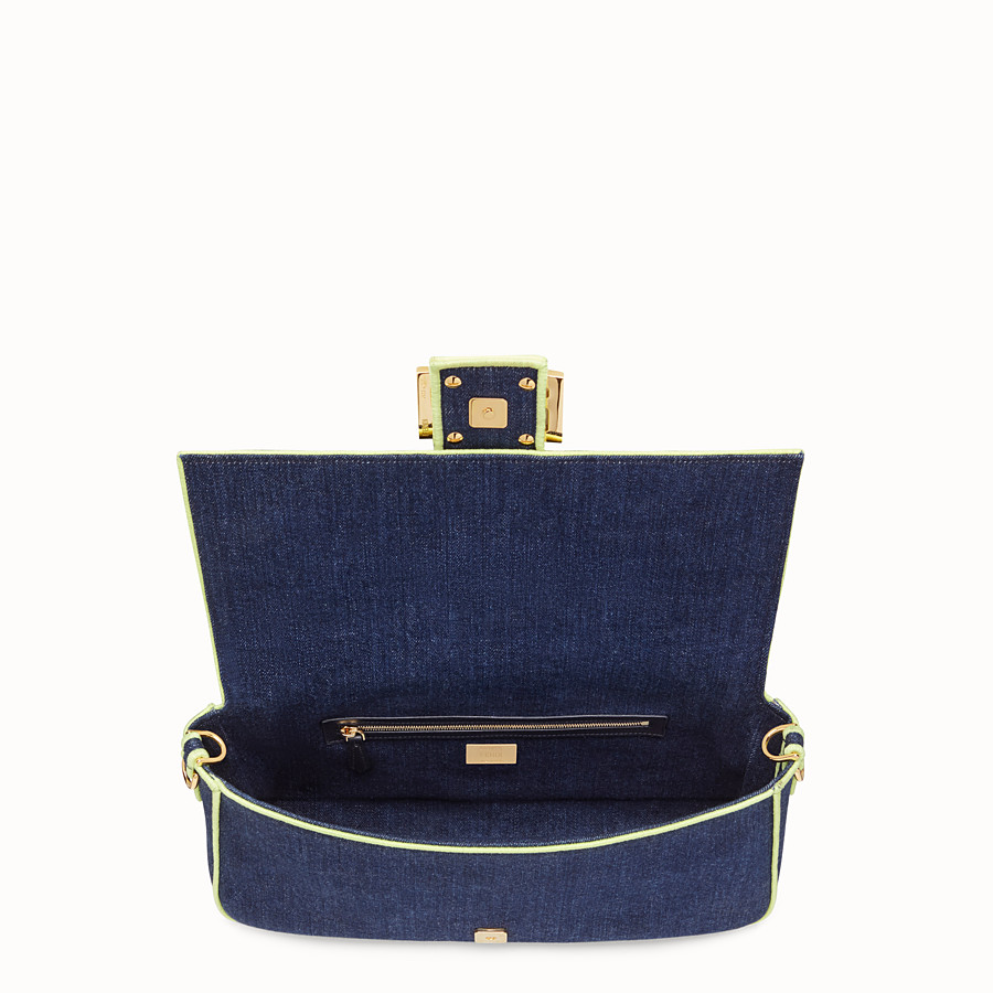 FENDI BAGUETTE LARGE - Blue denim bag - view 4 detail