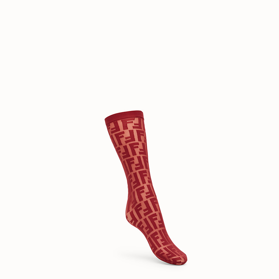 FENDI SOCKS - Burgundy nylon socks - view 1 detail