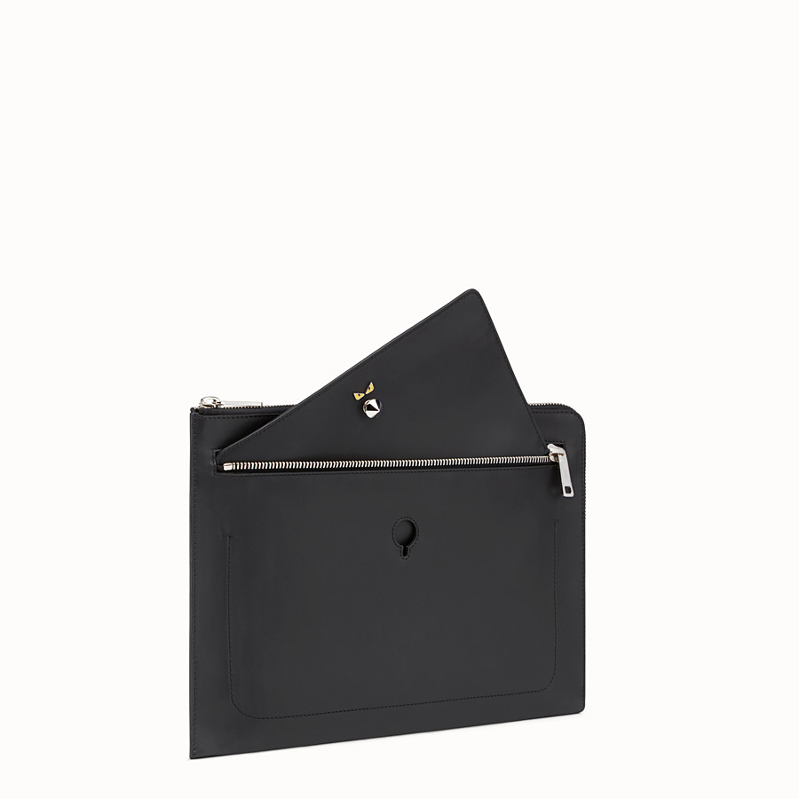FENDI CLUTCH - Smooth black leather pouch - view 2 detail