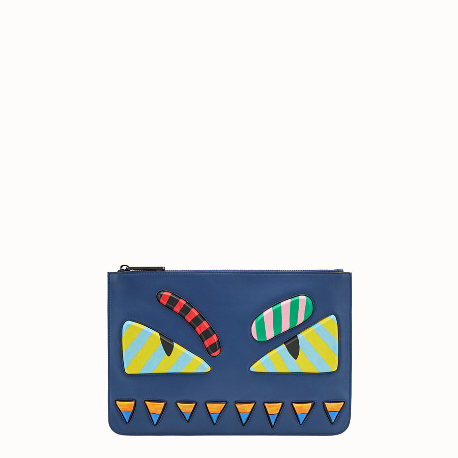 FENDI POUCH - Blue leather pouch with inlays - view 1 detail