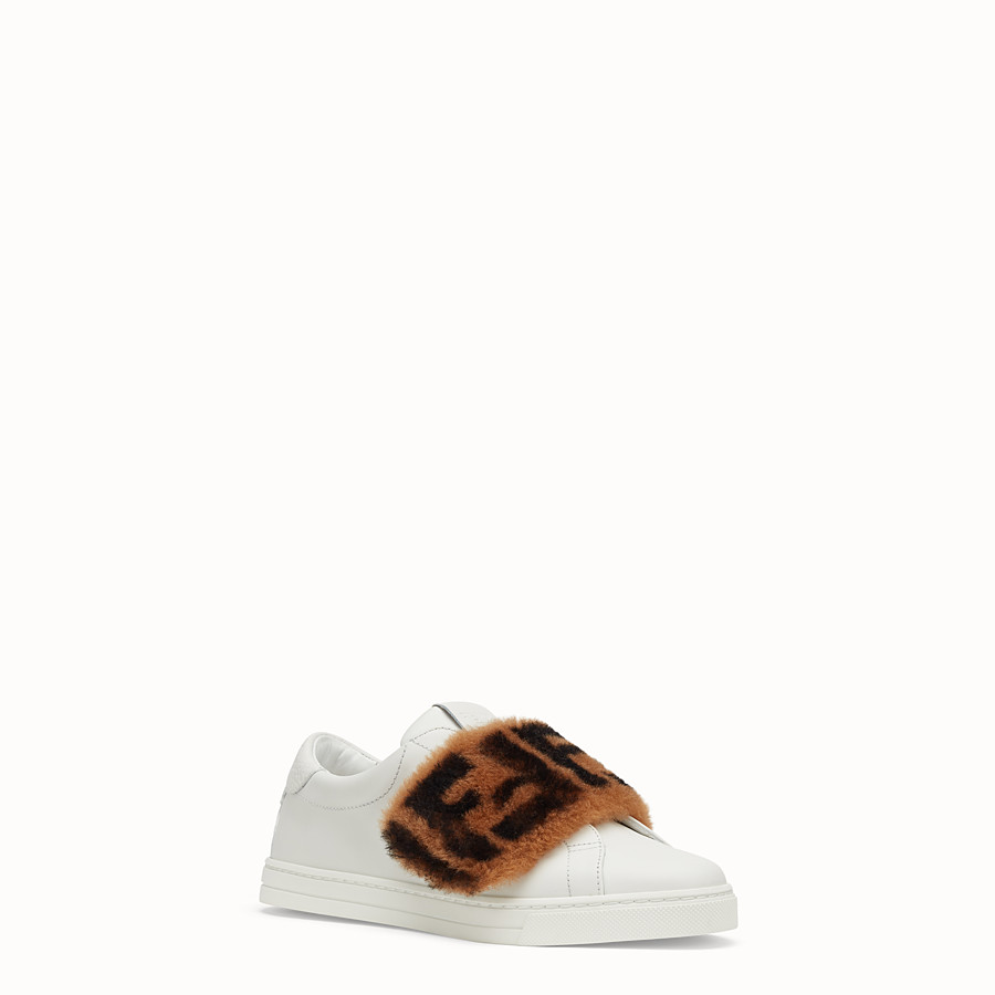 FENDI SNEAKERS - Chaussures sans lacets en cuir blanc - view 2 detail