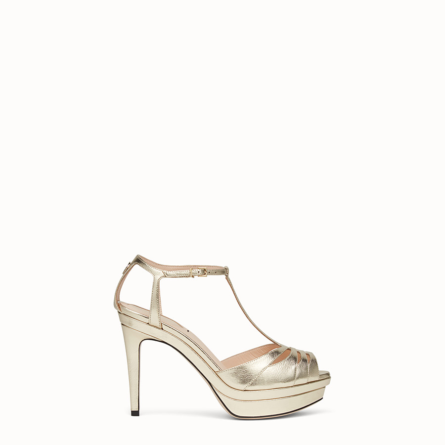 FENDI SANDALS - Gold leather high-heel sandals - view 1 detail