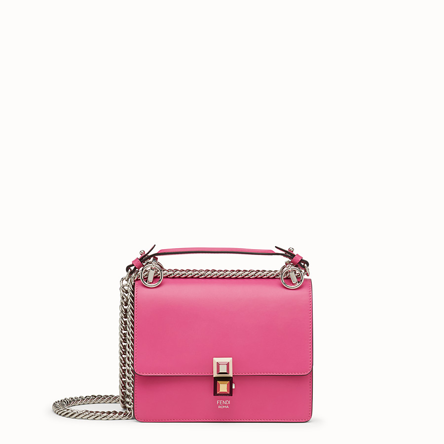 FENDI KAN I SMALL - Fuchsia leather mini-bag - view 1 detail