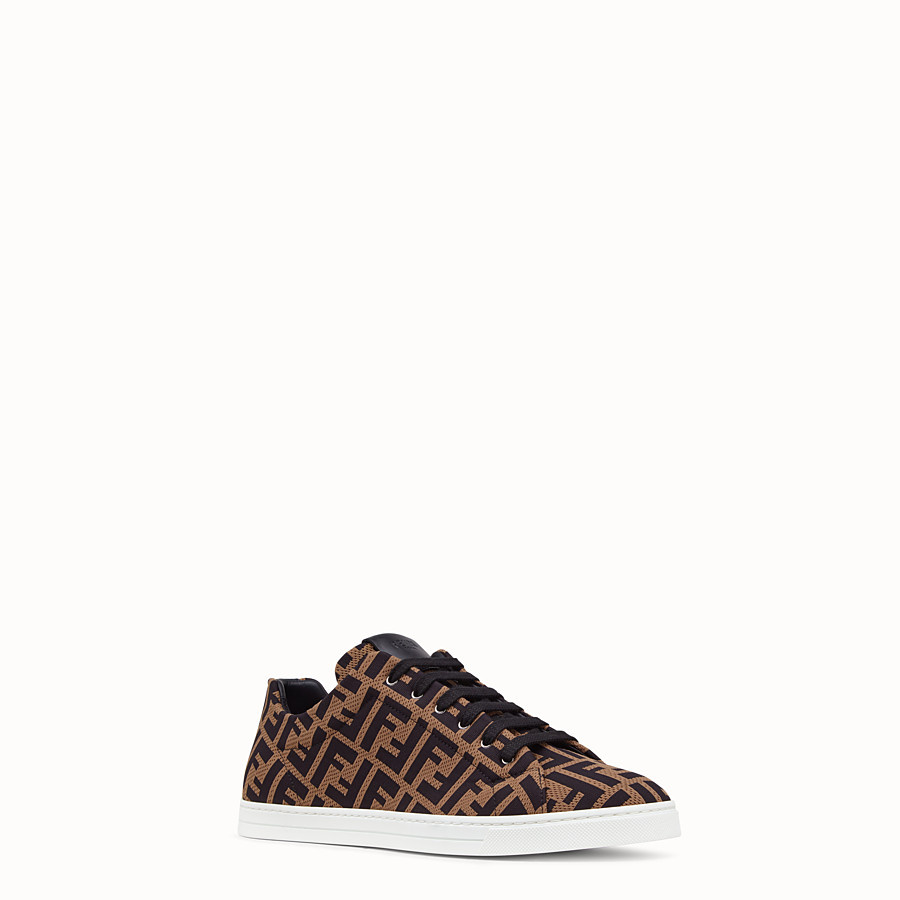 FENDI SNEAKERS - Brown tech fabric low-tops - view 2 detail