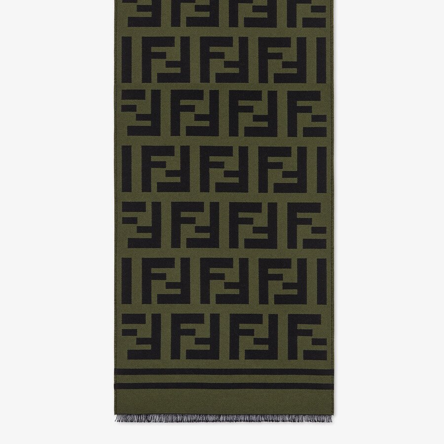 FENDI SCARF - Green wool and silk scarf - view 1 detail