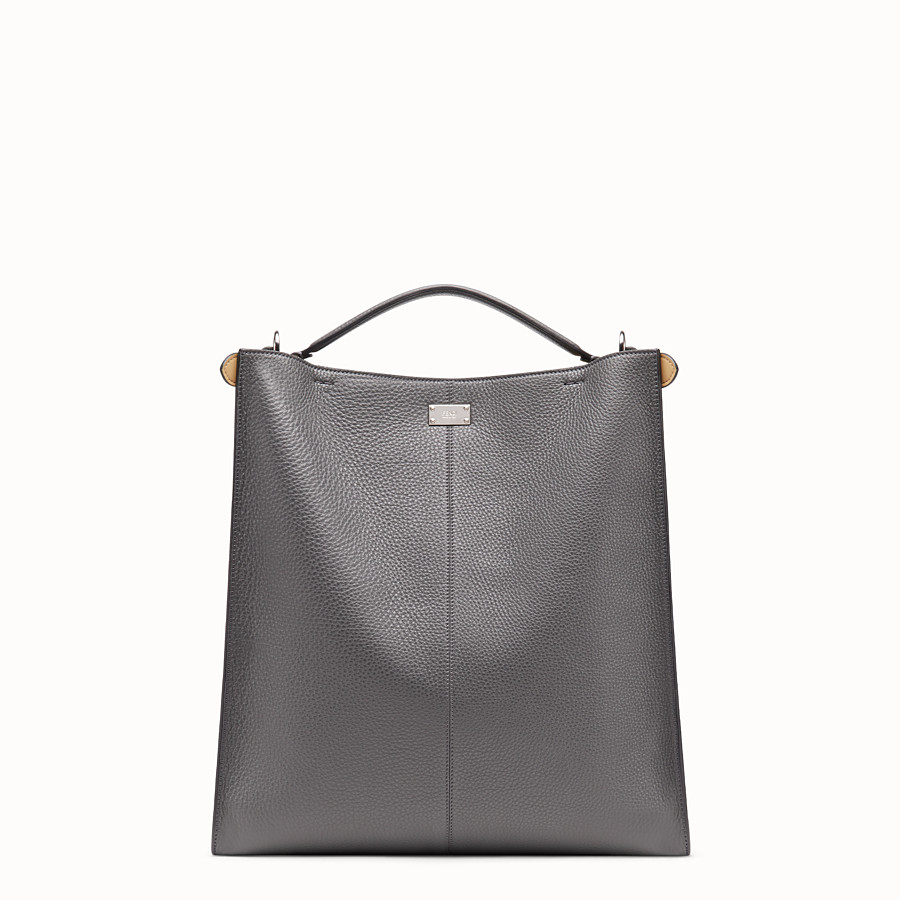 FENDI PEEKABOO X-LITE FIT - Tasche aus Leder in Grau - view 4 detail