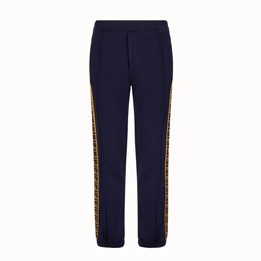 FENDI TROUSERS - Blue cotton trousers - view 1 detail