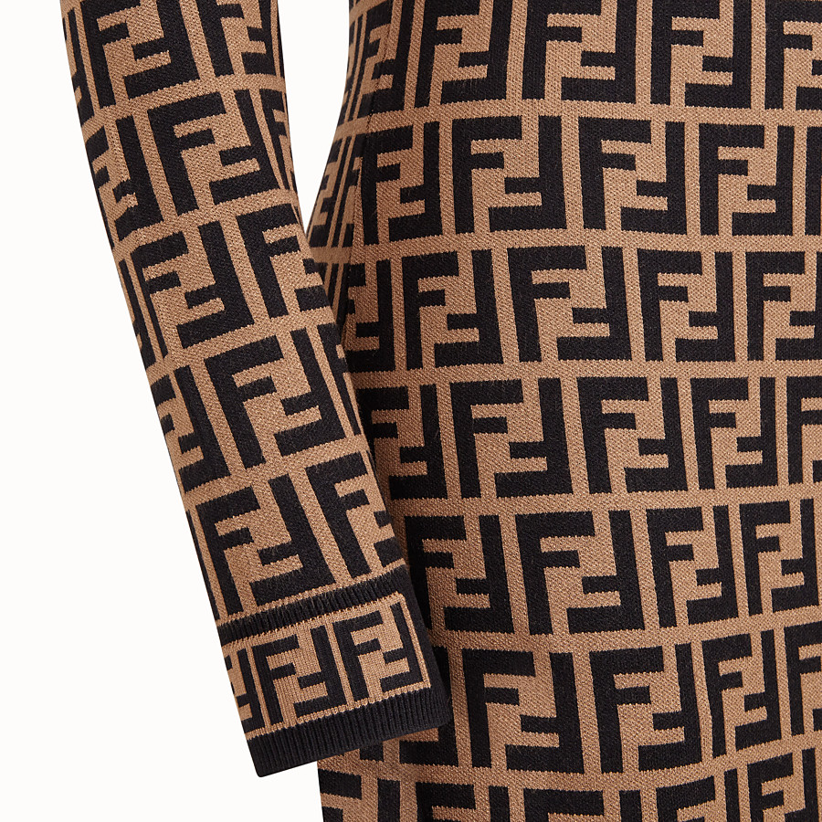 FENDI DRESS - Brown viscose dress - view 3 detail
