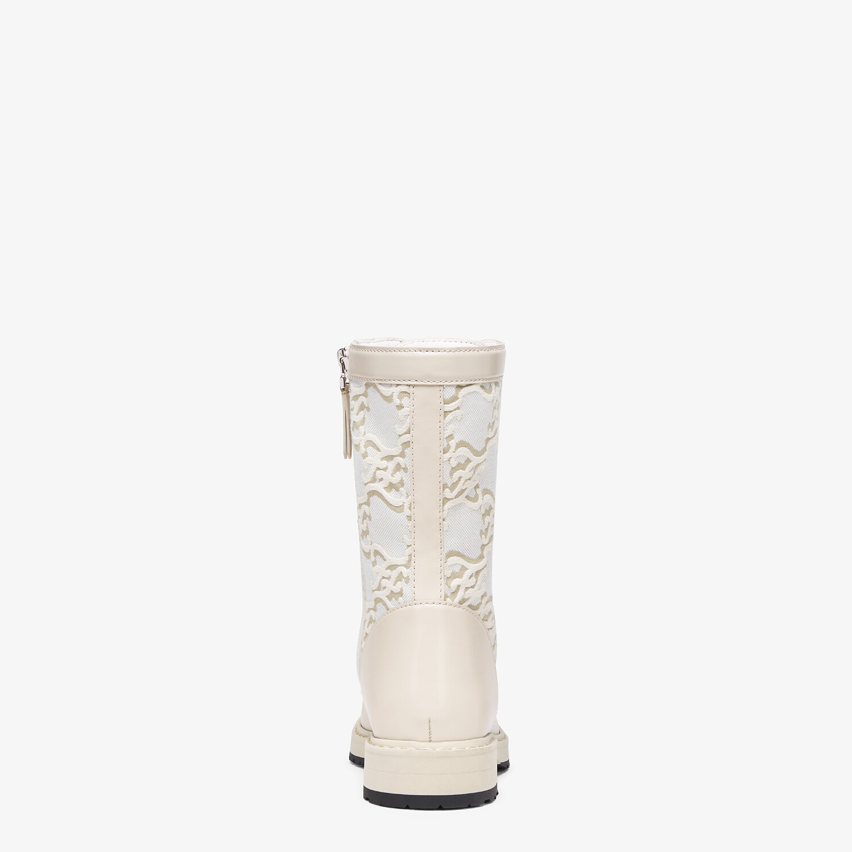 FENDI SIGNATURE - White leather biker boots - view 3 detail