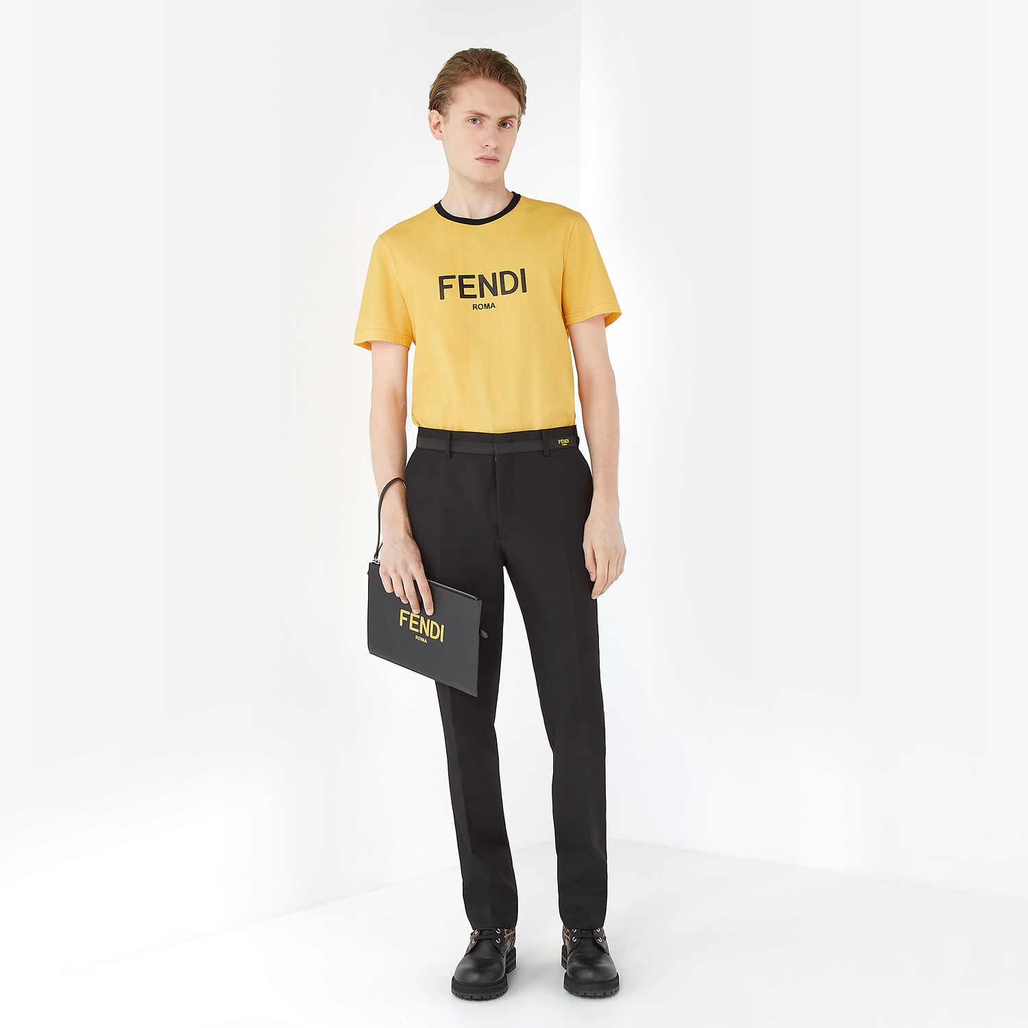 FENDI T-SHIRT - Yellow cotton T-shirt - view 4 detail