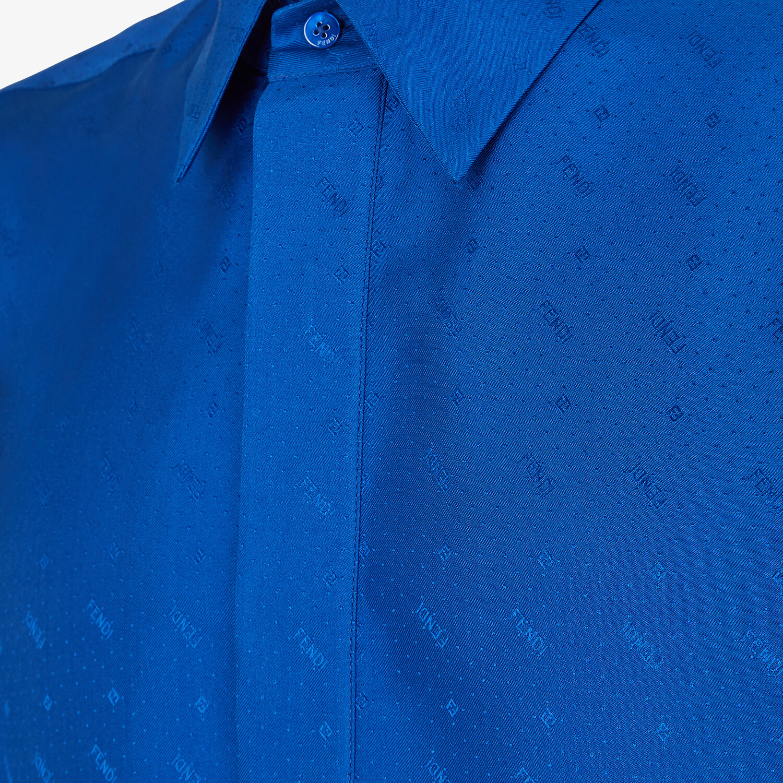 FENDI SHIRT - Blue silk shirt - view 3 detail