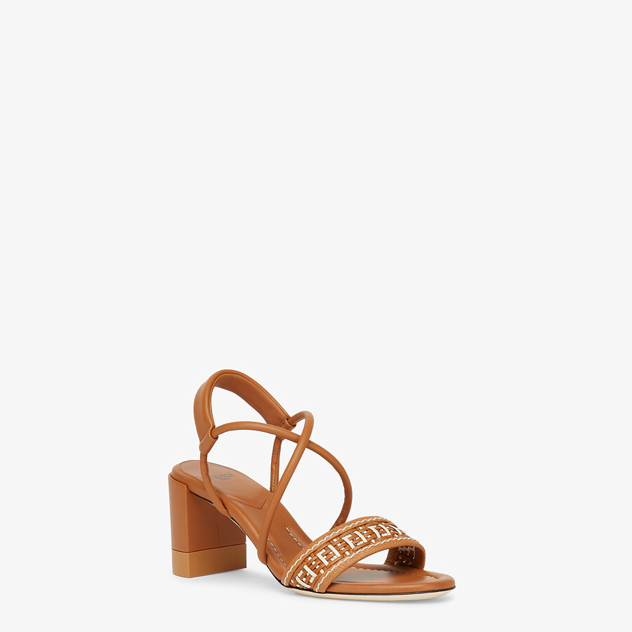 FENDI FF INTERLACE SANDALS - Brown leather sandals - view 2 detail