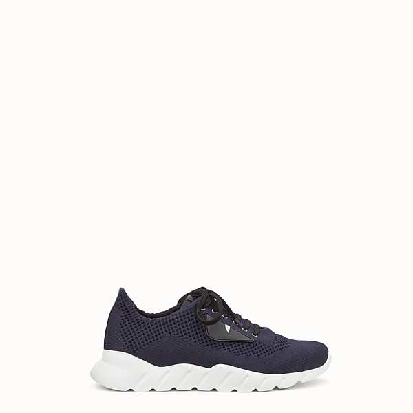 FENDI SNEAKERS - Running shoes in blue fabric and black leather - view 1 small thumbnail