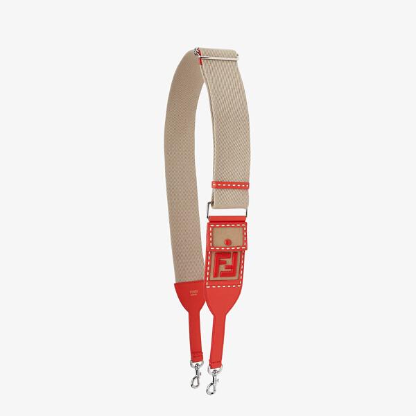 Beige and red ribbon shoulder strap