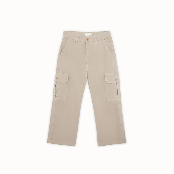 FENDI TROUSERS - Pantalone in gabardine con patch - vista 1 thumbnail piccola
