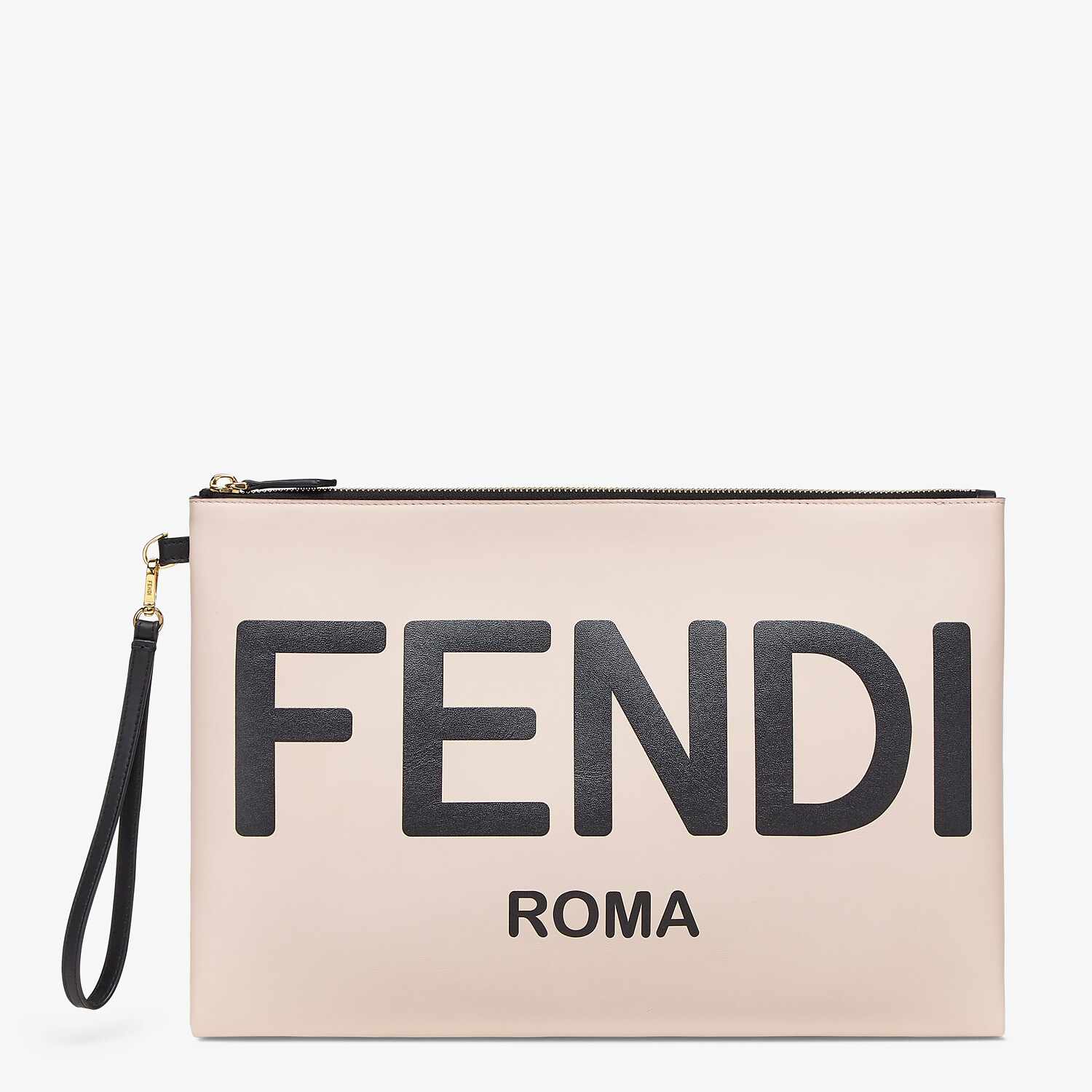 FENDI LARGE FLAT POUCH - Pink leather pouch - view 1 detail