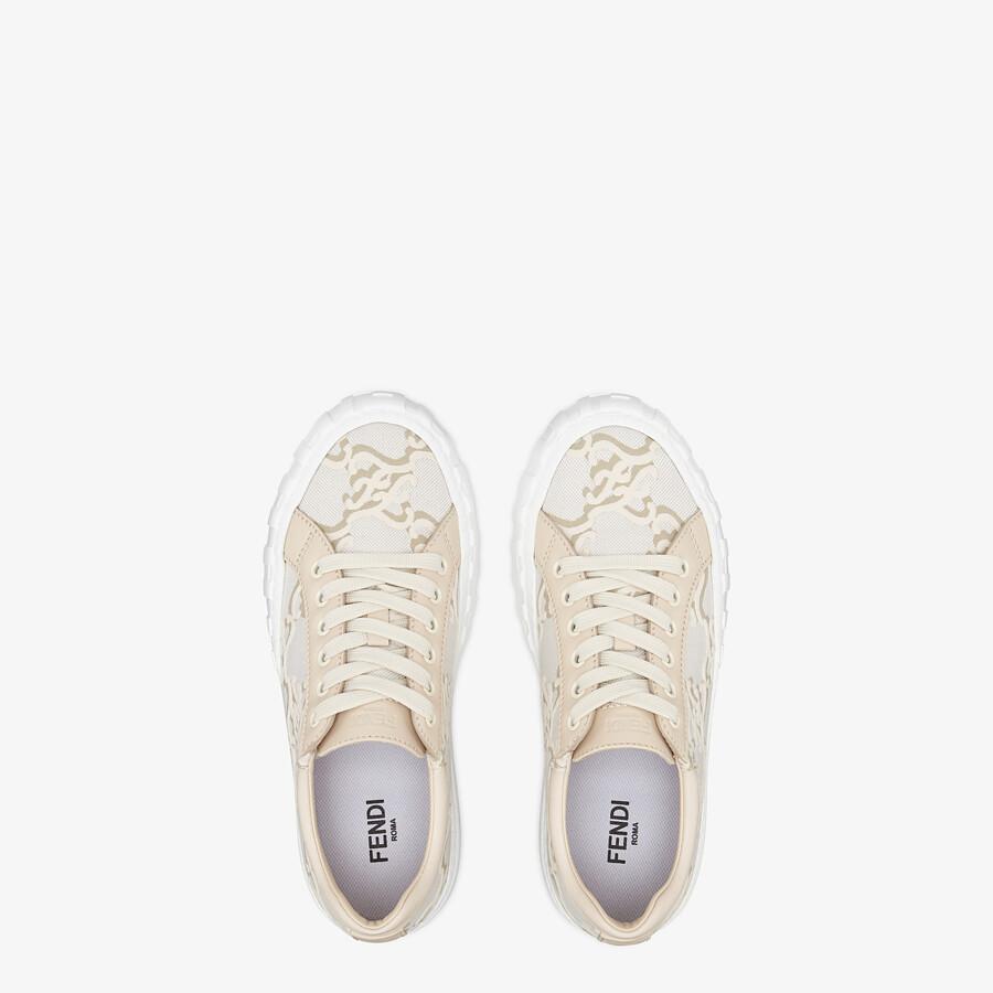 FENDI FENDI FORCE - White fabric low-top sneakers - view 4 detail