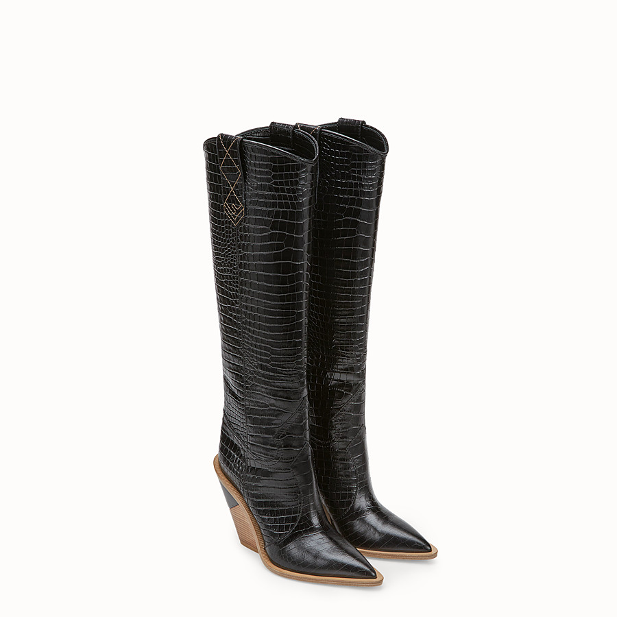 FENDI BOOTS - Black crocodile-embossed boots - view 4 detail