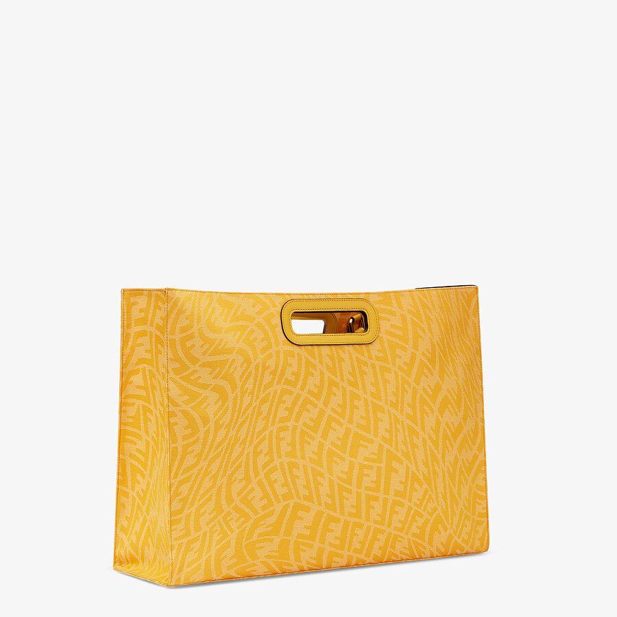 FENDI SHOPPING BAG - Yellow FF Vertigo jacquard shopper - view 3 detail