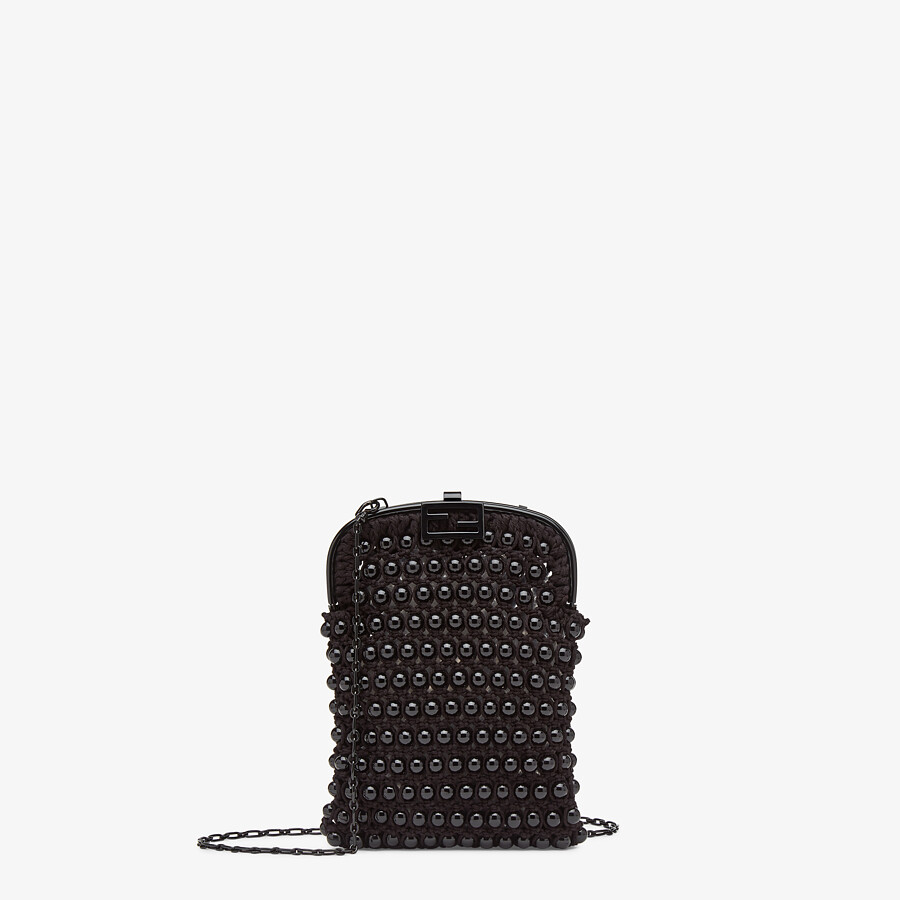 FENDI BAGUETTE PHONE BAG - Black lace mini-bag - view 1 detail