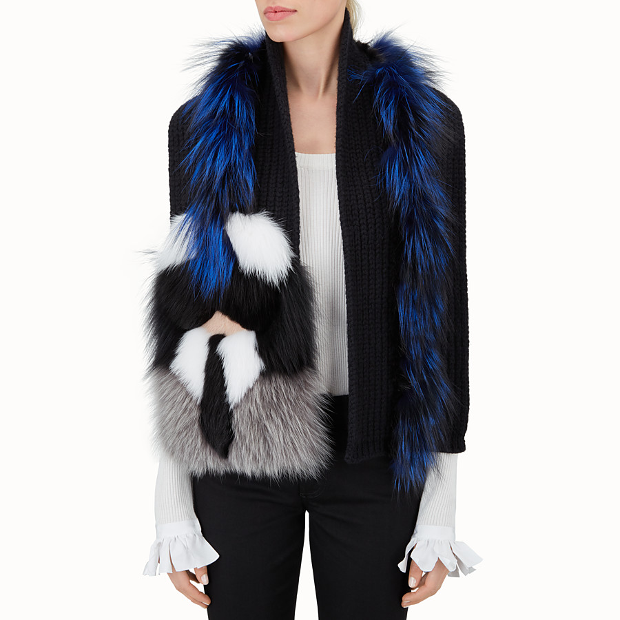 FENDI KARLITO SCARF - black wool and inlaid fur - view 3 detail