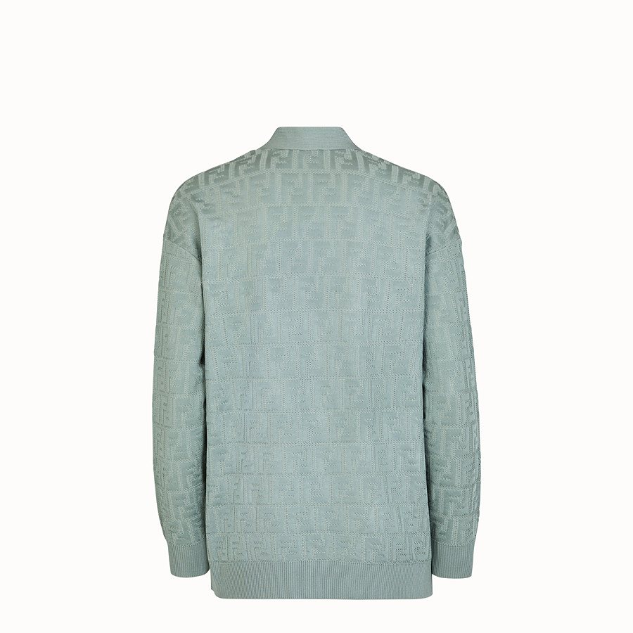 FENDI CARDIGAN - Light blue viscose and cotton cardigan - view 2 detail