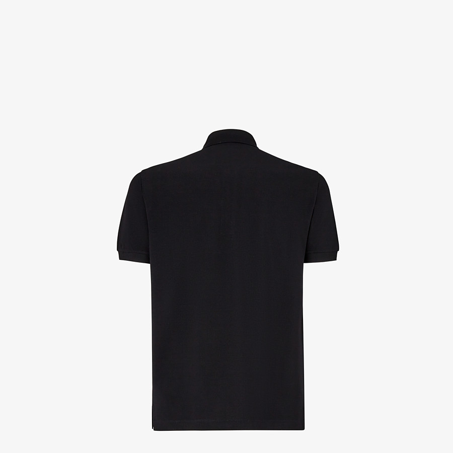 FENDI POLO SHIRT - Black piqué polo shirt - view 2 detail