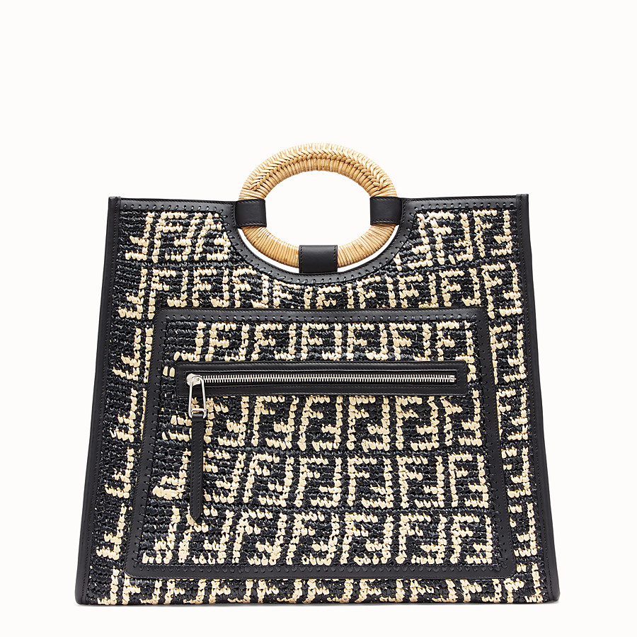 FENDI RUNAWAY SHOPPER - Multicolour raffia shopper - view 1 detail