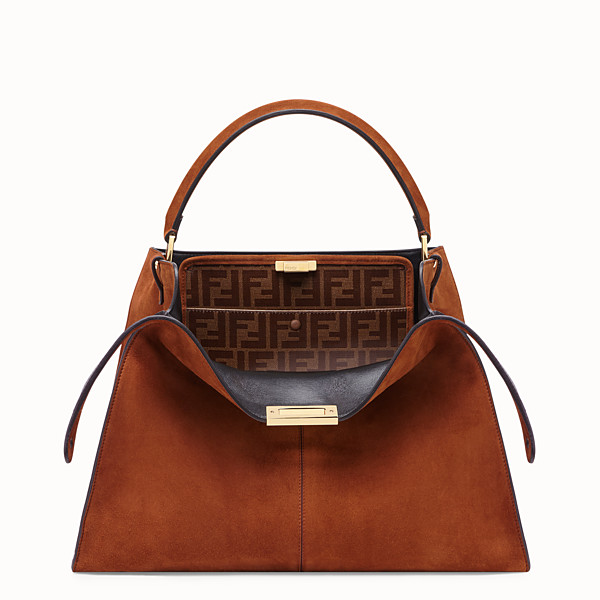 FENDI PEEKABOO X-LITE - Brown suede bag - view 1 small thumbnail
