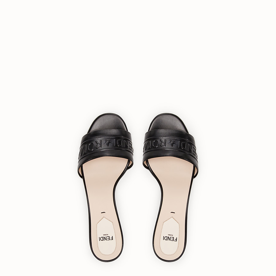 FENDI SANDALS - Black leather slides - view 4 detail